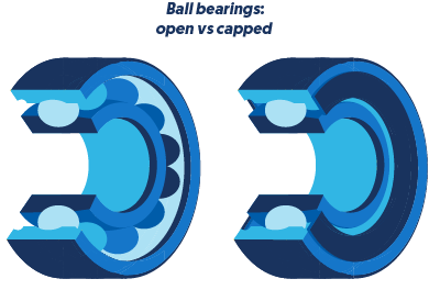 Ball bearings open vs. capped